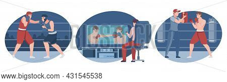 Boxing Flat Isolated Compositions With Boxers Fighting On Arena Training In Gym And Tv Screen Vector