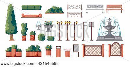 Summer City Park Flat Elements Set With Fountain Bushes Benches Lanterns Decorative Planters Fences