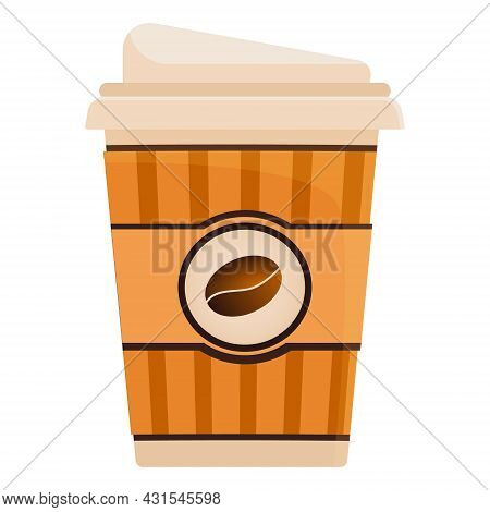 A Paper Cup With Natural Coffee. Coffee Drink On A White Background. Disposable Coffee Cup Icon With