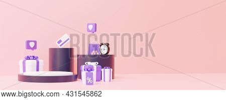 Online Shop. Podium With Gifts. The Concept Of Sales For The Placement Of Any Items. In Purple And P