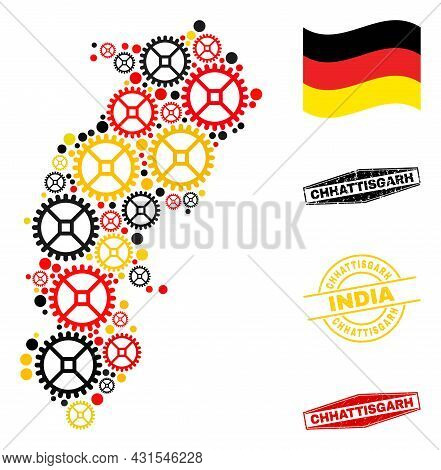 Repair Workshop Chhattisgarh State Map Collage And Seals. Vector Collage Is Composed From Repair Wor