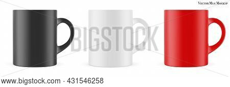 Mug Mockup (template, Layout).  Matte Cup For Drinks Isolated On White. Vector Eps 10