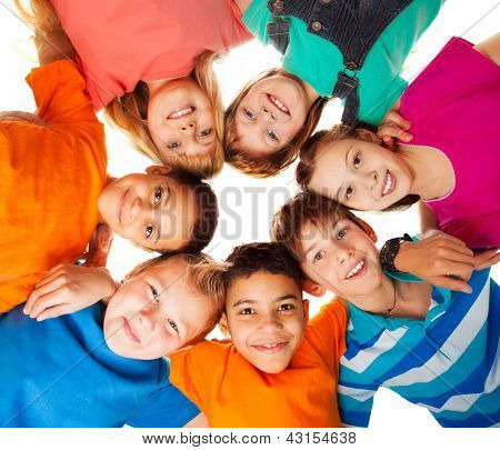 Circle Of Happy Kids Together Smiling