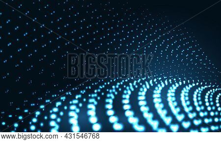 Vector Digital Technology Particle Wave In Dark Blue Abstract Background. Hi Tech Particles Network