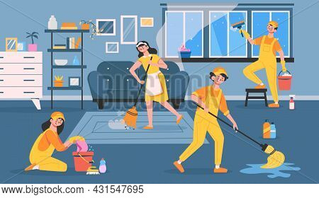 The Cleaning Service Is Actively Working And Cleans Up The Entire Apartment At Once Flat Vector Illu