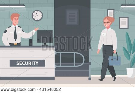 Security Guard Agency Service Cartoon Composition With Indoor Scenery And Human Characters Of Cowork
