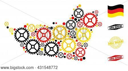 Wheel Abu Dhabi Emirate Map Composition And Stamps. Vector Collage Is Formed Of Service Items In Var