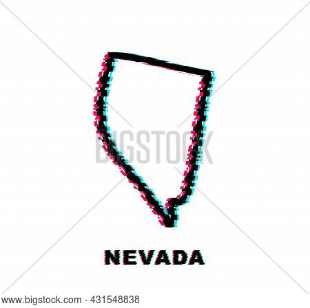 Nevada State Map Outline Glitch Icon. Vector Illustration.