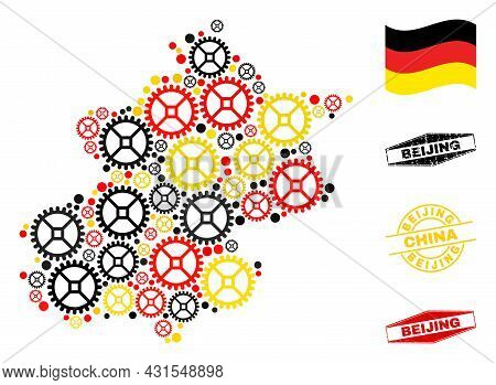 Repair Service Beijing City Map Collage And Stamps. Vector Collage Is Designed Of Repair Service Ite