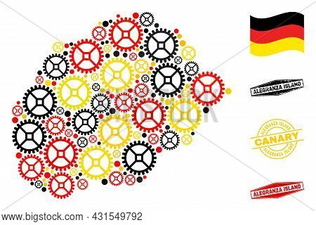 Cog Alegranza Island Map Collage And Stamps. Vector Collage Is Composed Of Workshop Elements In Vari