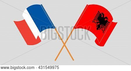 Crossed And Waving Flags Of Albania And France