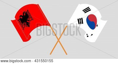 Crossed And Waving Flags Of Albania And South Korea