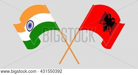 Crossed And Waving Flags Of Albania And India