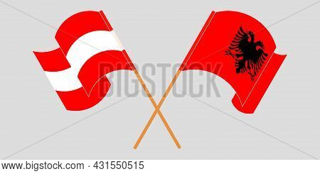 Crossed And Waving Flags Of Albania And Austria