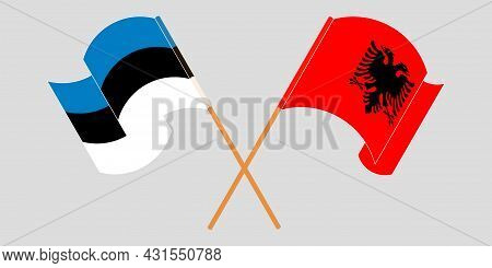 Crossed And Waving Flags Of Albania And Estonia