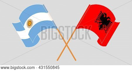 Crossed And Waving Flags Of Albania And Argentina