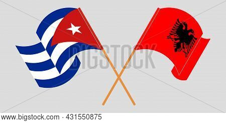 Crossed And Waving Flags Of Albania And Cuba