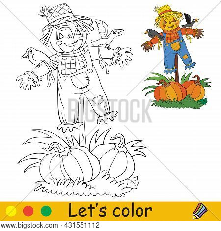 Funny Scarecrow With Pumpkins And Crows. Halloween Concept. Coloring Book Page For Children With Col