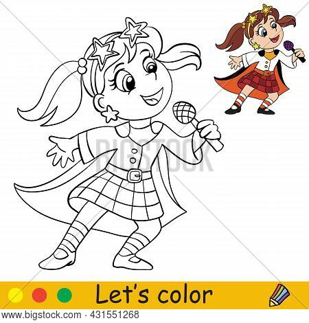 Funny Girl In Costume Of Retro Disco Singer. Coloring Book Page For Children With Colorful Template.