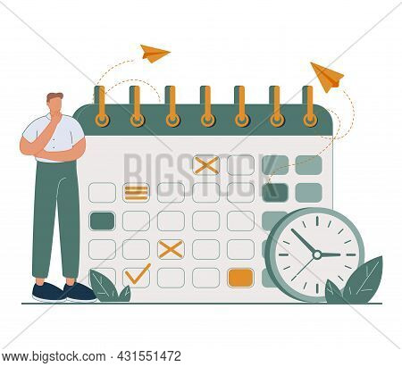 Appointment Plan And Calendar Meeting Time Reminder Note Tiny Person Concept. Schedule Deadline For