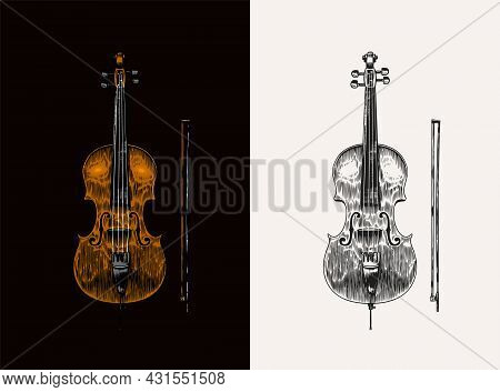 Jazz Cello And Bow In Monochrome Engraved Vintage Style. Hand Drawn Violoncello Sketch For Blues And