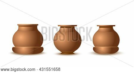 Realistic Clay Pots Set Isolated On White Background. Earthenware Or Bronze Dishes Of Various Shapes