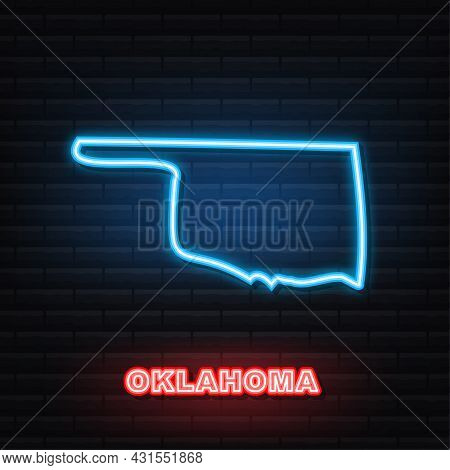 Oklahoma State Map Outline Neon Icon. Vector Illustration.