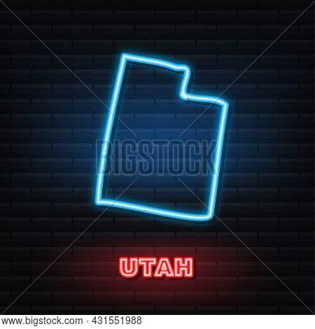 Utah State Map Neon Icon. Vector Illustration.