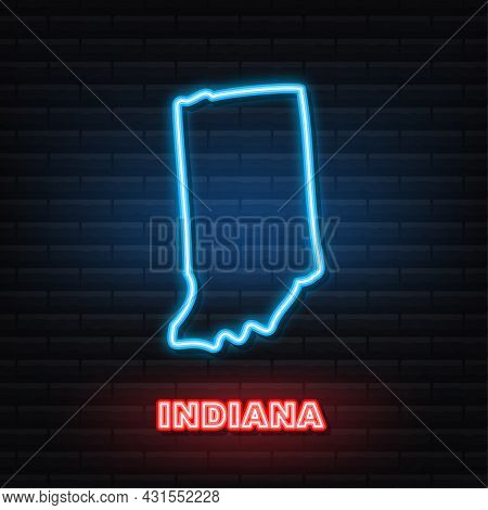 Neon Icon Map Of The State Of Indiana From The United State Of America. Vector Illustration.