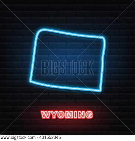 Wyoming State Map Neon Icon. Vector Illustration.