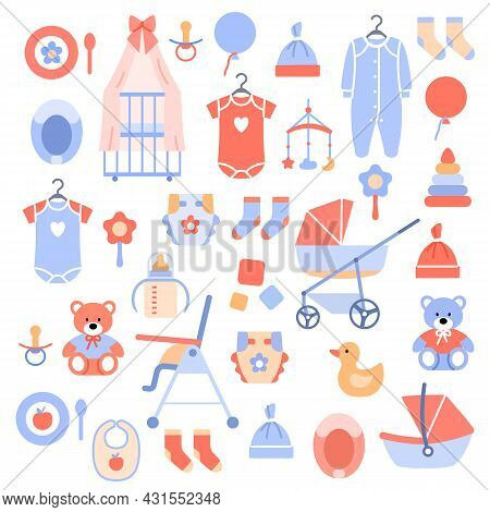 Newborn Baby Accessories Icons Set On White Background. Stylish Kids Objects For Baby Shower Card Ba