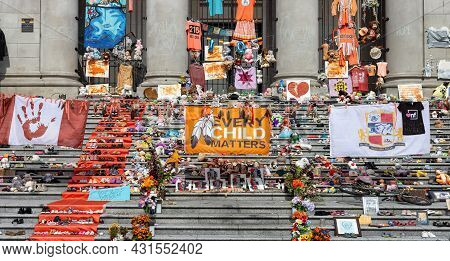 Downtown Vancouver, British Columbia, Canada - August 28, 2021: Memorial For The Morning Of The Firs