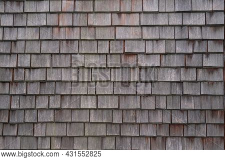 Shingle Wooden Tile Facade Background.texture Of Old Weathered Wooden Tiled Roof Or Surface Of Natur
