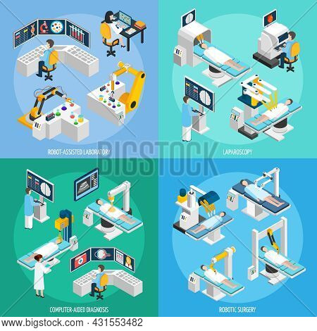 Medical Robots 2x2 Design Concept Set Of Robot Assisted Laboratory Equipment For Computer Diagnostic