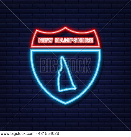 Neon Map Of New Hampshire State United States Of America, New Hampshire Outline. Blue Glowing Outlin