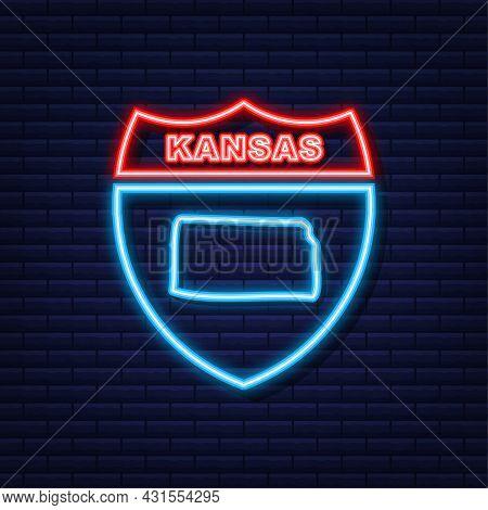 Kansas State Map Outline Neon Icon. Vector Illustration.