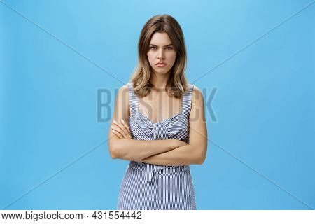 Woman Waiting Time For Revenge. Portrait Of Intense Offended And Moody Confident Adult Woman In Cute