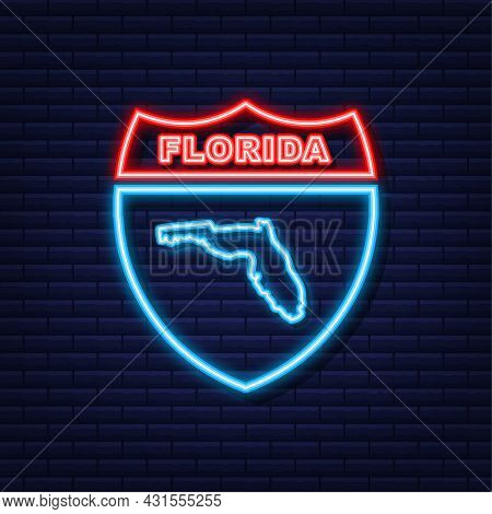 Florida State Map Neon Icon. Vector Illustration.