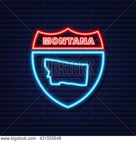Montana State Map Neon Icon. Vector Illustration.