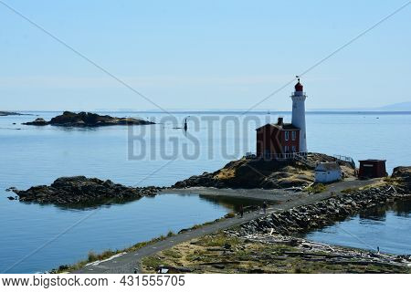 Fisgard Lighthouse At Fort Rodd Hill In Victoria Bc, Canada. August 29th 2021. Fisgard Lighthouse Is