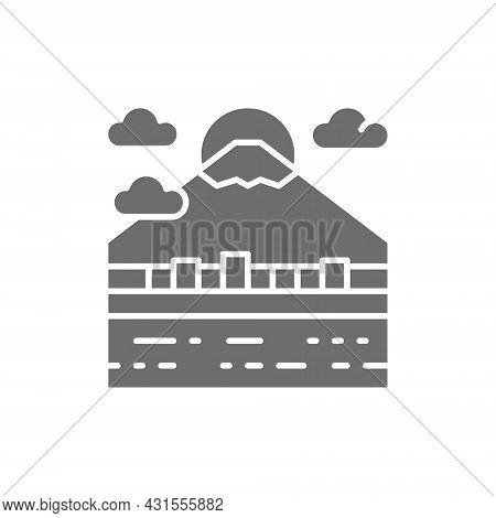 Urban Japanese Landscape, Mount Fuji Grey Icon.