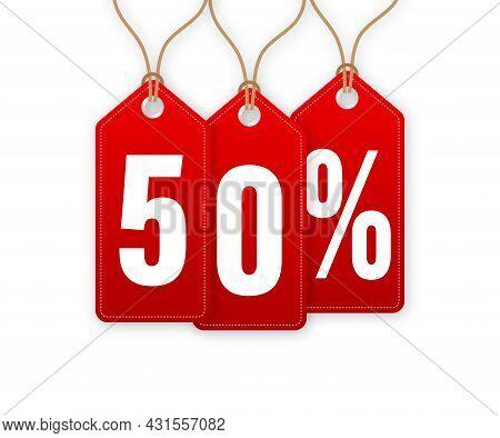 Discount Tag -50 Percent Off. Hangtags Sale. Vector Illustration.