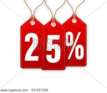 Animated Discount Tag -25 Percent Off. Hangtags Sale. Vector Illustration.