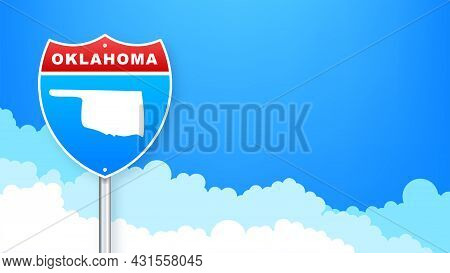 Oklahoma State Map Outline Road Sign. Vector Illustration.