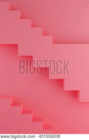 Pink Modern Design Template With Stairs 3d Render. Abstract 3d Render Mockup. Minimal Style.