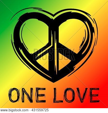 Wallpaper With The Image Of A Hippie Icon In The Shape Of A Heart On The Background Of The Colors Of