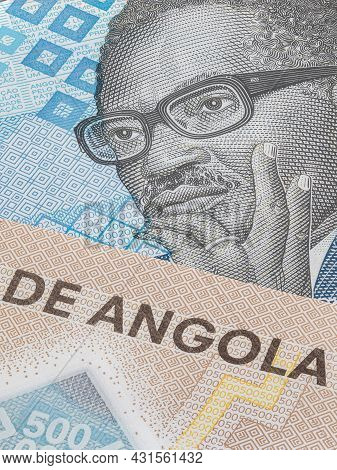 Close Up To 500 Kwanza Of The Republic Of Angola. Polymer Banknote Of The African Country. Detailed