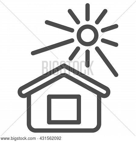 Sun Illuminates The House Line Icon, Weather And Climate Concept, House And Sunshine Vector Sign On
