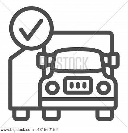 Container Truck, Checkmark, Cargo, Delivery Line Icon, Transportation Concept, Lorry Vector Sign On