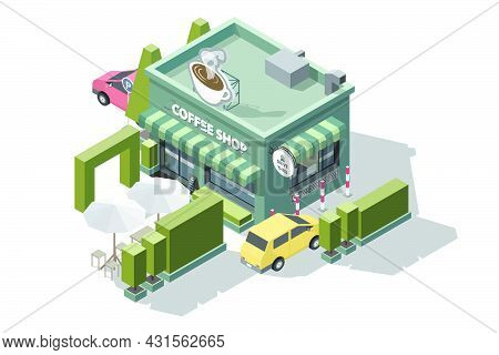 Isometric Coffee Shop With A Sign Or Logo On Top In The Shape Of A Large Coffee Cup 3d Model Of A Co